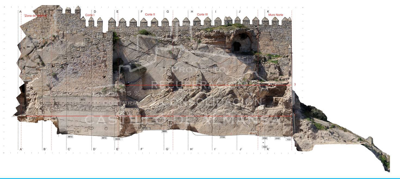 4. Una de las fachadas interiores del castillo reproducidas en HD con el Estudio Paramenta, que ha permitido precisar el diseño de la nueva estructura a construir